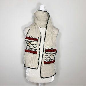 WOOLRICH rib knit pocket scarf